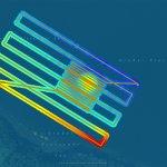 Das Bild zeigt das gefahrene Messraster als Fahrspur und die gemessene Tiefe. Die Tiefendaten wurden farblich skaliert auf eine Karte projiziert.